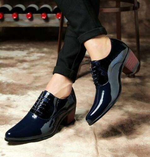 Men Pointy Toe Lace Up Wedding Cuban Heel Shiny Leather Vogue Formal Dress Shoes