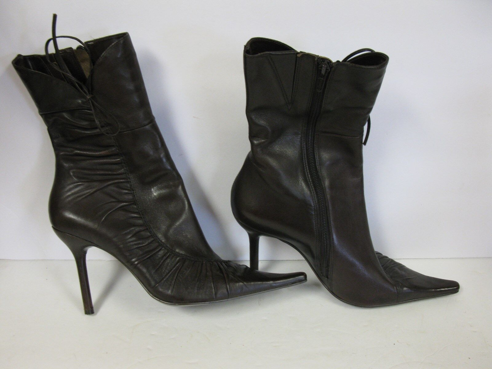 Bakers Brown Leather Zip Up Pointy toe Dress Boots 10