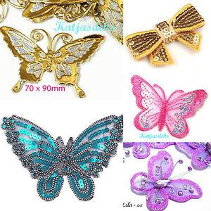 Aufnäher Schmetterling beige braun Patch Bügelbild Abzeichen Aufbügler
