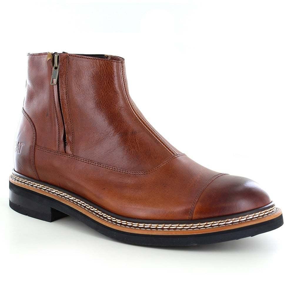 Caterpillar (CAT) Adner P720354 Mens Leather Chelsea Boots Rust Brown