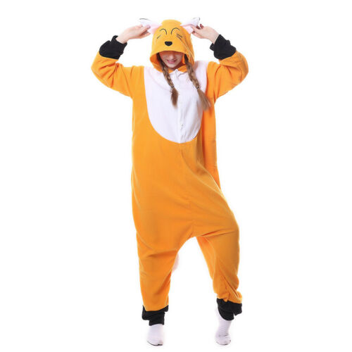 Adult Animal Kigurumi Fleece Pajamas Cosplay Fox Sleepwear Costume Jumpsuit