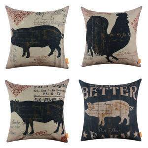 Details About Farmhouse Style Decorative Cushion Cover Throw Pillowcase Farm French Country