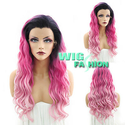 "24"" Heat Resistant Curly Wavy Two Tone Pink With Dark Roots Lace Front Wig"