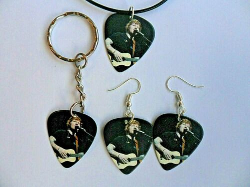 Keyring  or  Earrings Two Sided  New  a ED SHEERAN     Guitar Pick Necklace