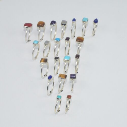 WHOLESALE 21PC 925 SOLID STERLING SILVER PURPLE AMETHYST AND MIX RING LOT ej024