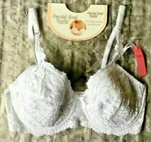 Sale Daniel Axel Emily White Pretty Lace Effect Detail Padded Wired Bra