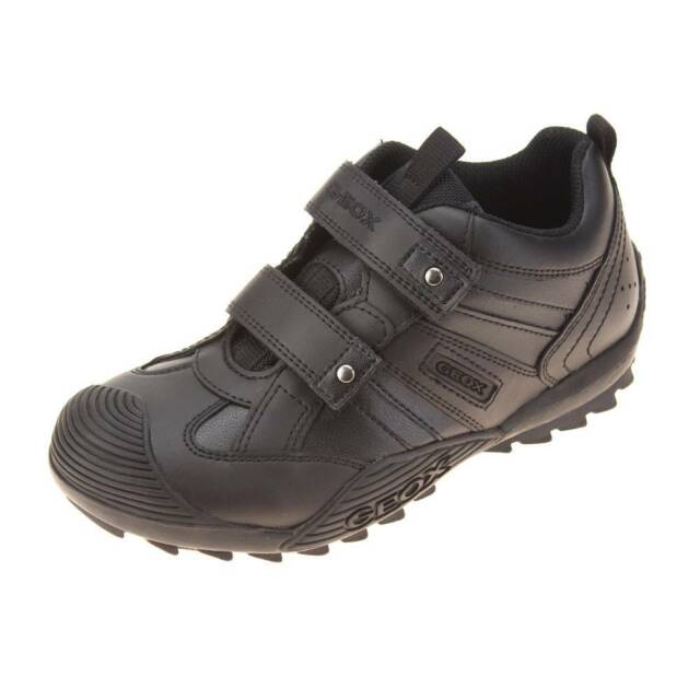 0afc97312ae9 Geox J Savage G Black Leather Boys School Shoes Trainer Style Size ...