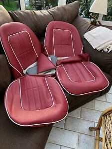 AUSTIN-HEALEY-SPRITE-Early-Midget-SEAT-COVERS-hinge-Pouches-Red-White