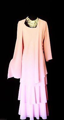 CATTIVA Size 18 Light Pink Ladies Designer Layered Wedding Dress & Jacket Outfit
