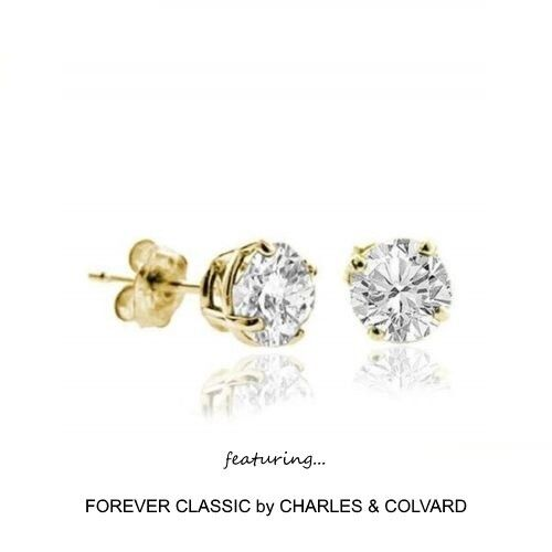 1.00 Carat Moissanite Stud Earrings 14K Yellow Gold Charles/&Colvard
