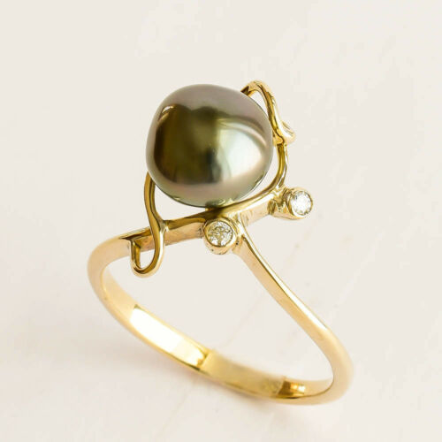 NATURAL TAHITIAN KESHI PEARL RING GENUINE DIAMONDS 9K GOLD RING SIZE N12 NEW