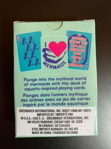 PLAYING CARDS COLOR AQUA I LOVE MERMAIDS NIB FUN NOVELTY SET OF CARDS