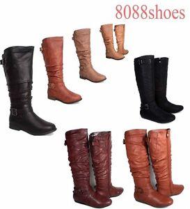 Femmes-Talon-Bas-Bout-Rond-Fermeture-Eclair-Equitation-Boucle-Genou-Haut-Bottes-Chaussures-Taille-6