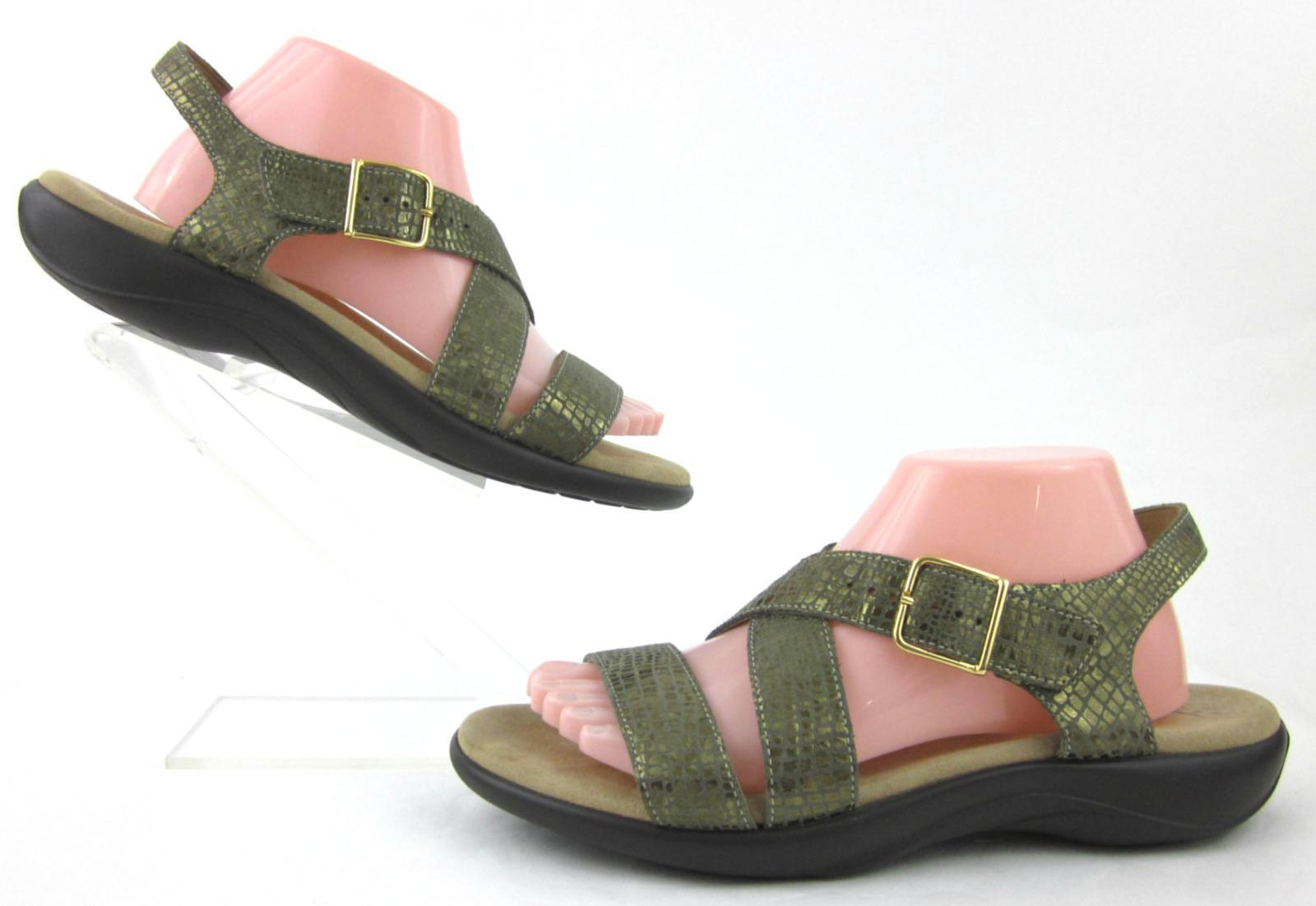 SAS Laguna Comfort Sandals Olive oro Leather US 10M Mint Condition