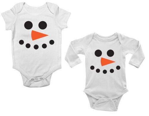 Christmas Xmas Snowman Face Cute Boys and Girls Baby Grow Vest Bodysuit