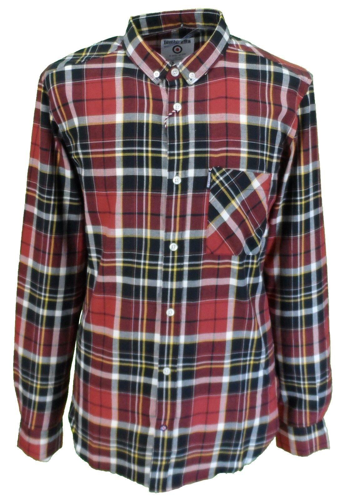 LAMBRETTA Retro Button Down Rosso Nero Bianco Check camicia a maniche lunghe