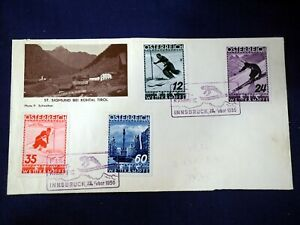 Austria-1926-FDC-Cover-Innsbruck-Set-of-4-Skiing-Stamps-Osterreich-Envelope