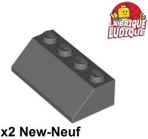 Lego - 2x slope brique pente inclinée 45 2x4 gris f/dark bluish gray 3037 NEUF