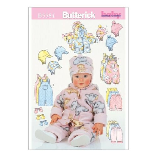 Butterick Sewing Pattern 5584 Babies Jacket Overalls Trousers Hat /& MIttens