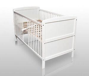Babybett Kinderbett Gitterbett Weiß umbaubar 140x70 cm ohne Matratze ...