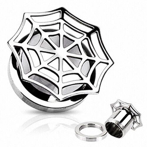 Bollos atornilla túnel oreja Plug Spider Web piercing tela de araña placa de plata