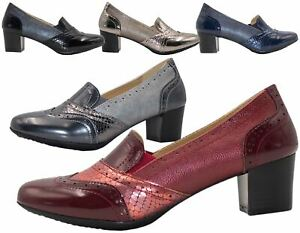 Womens-Court-Shoes-Ladies-Block-Mid-Heel-Merry-Jane-Snake-Patent-Office-Brogue