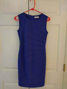 Women-Calvin-Klein-Royal-Blue-Sheath-Sleeveless-Sideburst-Dress-Size-2-P-Petite