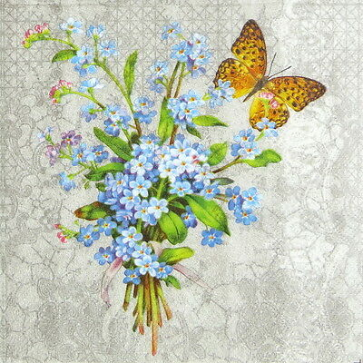 "4x Single Table Paper Napkins for Party Decoupage Craft ""Myosotis"" butterfly"