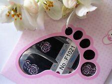 Nail Art Self Adhesive Full Toe Nail Polish Wrap Sticker Black Rose Flower 1021T