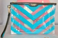 Victorias Secret Large Clear & Blue Jelly Cosmetic Bag Clutch Wristlet
