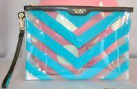 Victorias Secret Large Clear & Blue Jelly Cosmetic Bag Clutch Wristlet