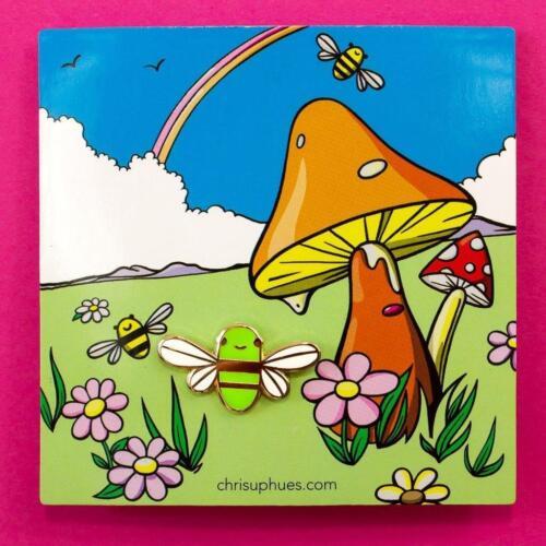 MINI GOLDEN BEE ENAMEL PIN CHRIS UPHUES GREEN