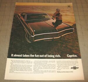 """1969 Chevy CAPRICE 10.5"""" x 14"""" Life Magazine 1-Page Ad Chevrolet by the Ocean GM"""