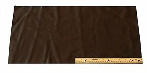 UPHOLSTERY LEATHER PIECE COWHIDE DARK BROWN LT WT 2 SF
