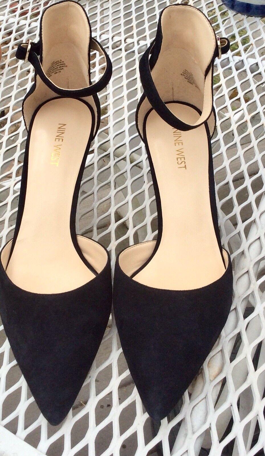 Nine West Black Suede shoes Sz 9 M New- Open Toe Black Sandals
