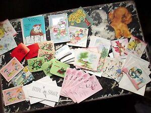 60+ VTG Greeting Cards Lot 30's 40's 50's Christmas Birthday Baby Shower Bridal