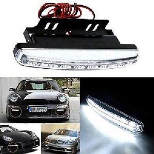 Luce-Diurna-per-automobili-16cm-8-Led-bianchi-Supporto-2-unita-273