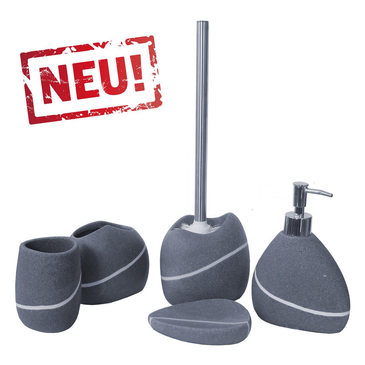 BADSET Seifenspender Zahnputzbecher WC Bürstengarnitur Seifenschale Steinmuster