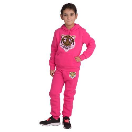 4749 Kinder Jogginganzug Freizeit Kapuzen-Sweater Joggpants Wisch-Pailletten