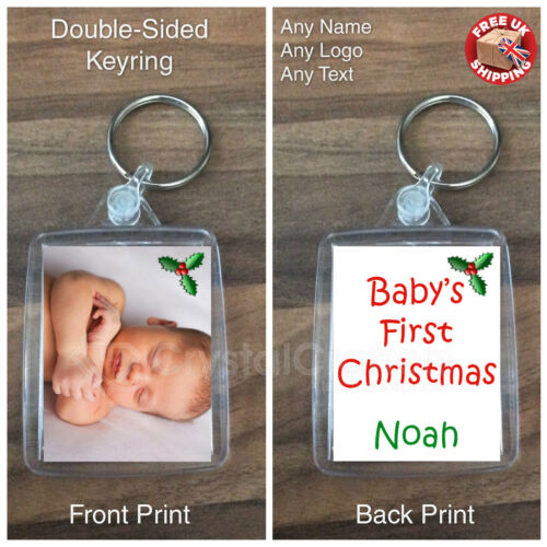 Personalised Custom Photo Gift Keyring Baby/'s First 1st Christmas Stocking Fill