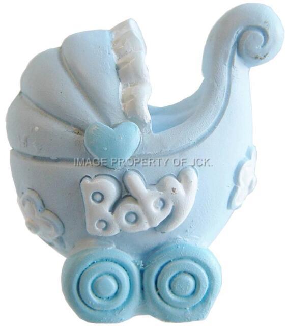 Blue & white baby boys pram christening new baby shower cake topper decoration