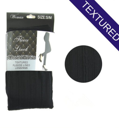 Full Length Classic Black Textured High Waist Fleece Lined Leggings