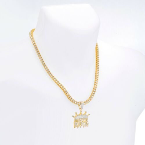 """Iced Gold Tone Dripping King Crown Pendant 24/"""" Tennis Chain Necklace THC 1312G"""