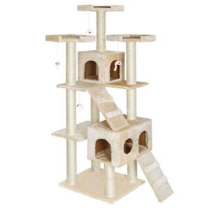 NAPOLEONE - Albero tiragraffi per gatti con 2 casette 183 cm BEIGE amico gatto