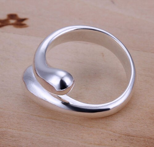 925 Sterling Silver plated Adjustable Ring Teardrop Thumb Finger Band Ring UK