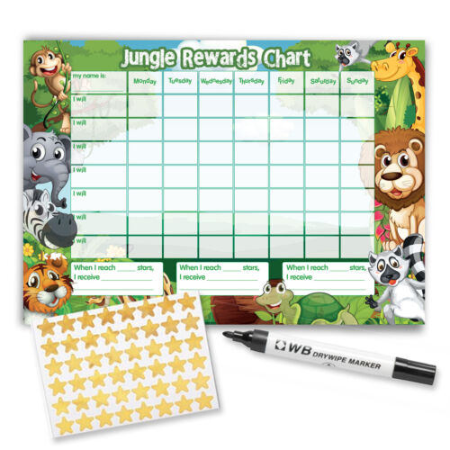 including FREE Stickers and Pen Jungle Design Re-usable Reward Chart
