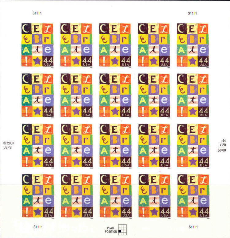 2009 44c Celebrate, Special Issue, Sheet of 20 Scott 44