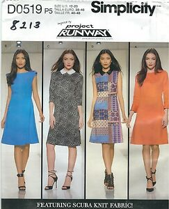 Simplicity 0519 8213 Misses/' Knit Dress with Bodice Variations  Sewing Pattern