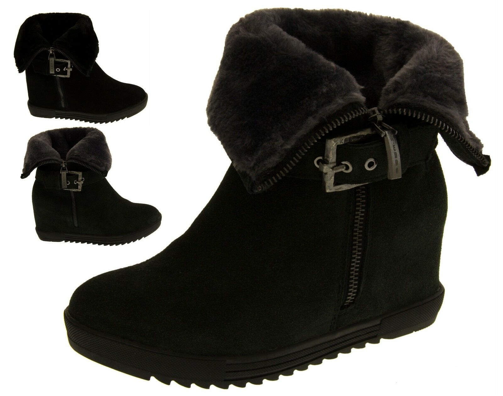 Womens Keddo Hidden Wedge Ankle Boots Ladies Warm Lined Winter Boot Size 3 - 8