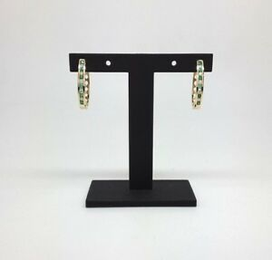Miran-130084-9K-Yellow-Gold-Huggie-Emerald-amp-Diamond-Hoop-Earrings-RRP-949
